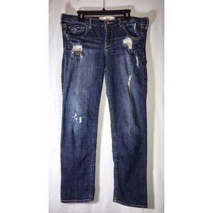 Hollister (9) Stretch Dark Blue Denim Ripped Jeans